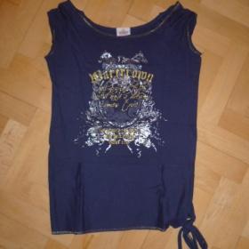 Tmavě modré triko se stříbrno-zlatým potiskem zn. Takko - foto č. 1