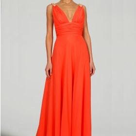 Oranžové šaty po zem - foto č. 1