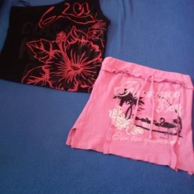 Růžové a černé tílko s potisky - foto č. 1