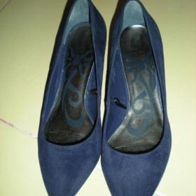 Tmavě modré semišové lodičky FF