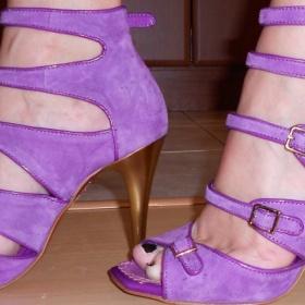 Fialové boty z broušené kůže Disha - foto č. 1