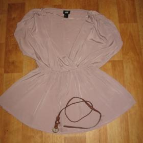 Antická tunika v barvě nude s hnědým páskem HM - foto č. 1