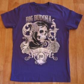 Pánské tmavě fialové tričko s lebkou NY - foto č. 1