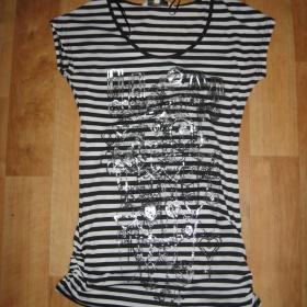 Černobílé pruhované tričko Clockhouse - foto č. 1