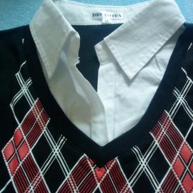 Košilové triko červenočerné+ bílé - foto č. 1