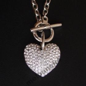 Náhrdelník swarovski - srdce s bílými krystaly - foto č. 1