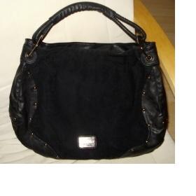 Prostorná taška z černé kůže, semiše se cvočky zn. Jennifer (CCC) - foto č. 1