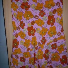 Růžová sukně s pestrobarevnými květy - foto č. 1