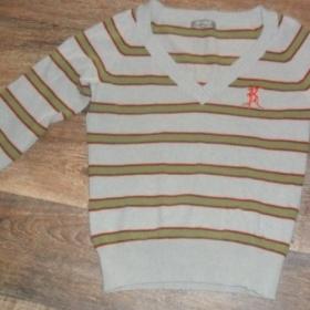 Šedý sveter so zelenými pruhy kenvelo - foto č. 1