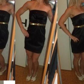 Černé pouzdrové šaty Jane Norman vzhled saténu XS-S - foto č. 1