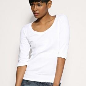 Bílé tričko bez potisku s krátkým nebo 3/4 rukávem - foto č. 1