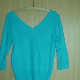Modrý svetr s 3/4 rukávy - foto č. 1