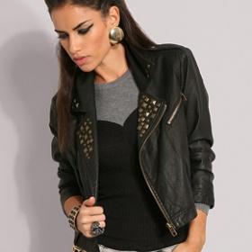 """Černá kožená bunda """"křivák"""" - foto č. 1"""