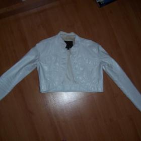Bílé/krémové koženkové bolerko amisu - foto č. 1