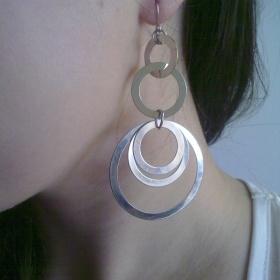 Náušnice stříbrné kruhy pod sebou - foto č. 1