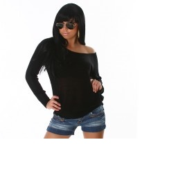 Černý svetřík/svetr/halenku/triko s 3/4 nebo dlouhým rukávem delší - foto č. 1