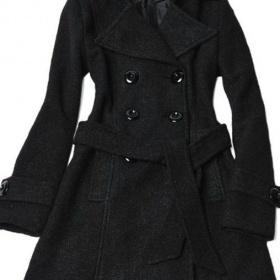 Černý dlouhý vlněný zimní kabát - foto č. 1