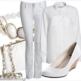 Bílé bokové slim jeansy - foto č. 1