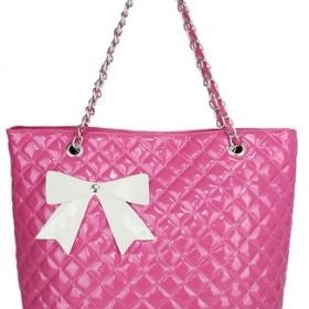 Růžová kabelka s mašlí a řetízkovým uchem - foto č. 1