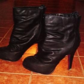 Černé kotníkové boty na podpatku podzim/zima - foto č. 1