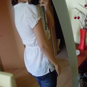 Smetanová košile s volánky s krátkým rukávem H&M - foto č. 1