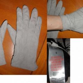 Velurové šedivé kožené rukavice S FF - foto č. 1