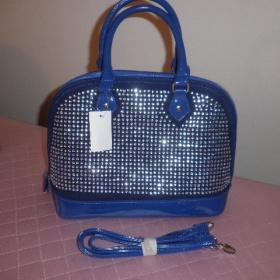 Královsky modrá semišová kabelka s kamínky + odepínatelný popruh, drhne zip - foto č. 1