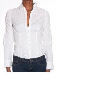 Bílá body košile s dlouhým rukávem - foto č. 1