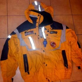 Teplá zimní bunda  oranžovo šedo modrá - foto č. 1