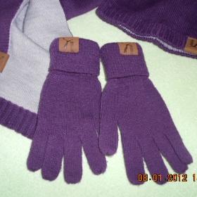 Fialová sada šála, rukavice, čepice Puma - foto č. 1