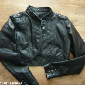 Černé koženkové bolerko s dlouhým rukávem - foto č. 1