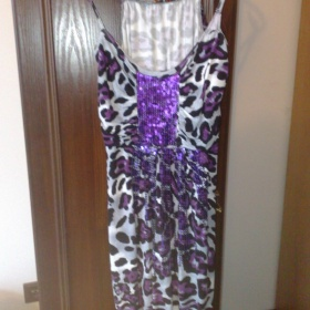 Fialový leopard párty tunika - minišaty - foto č. 1