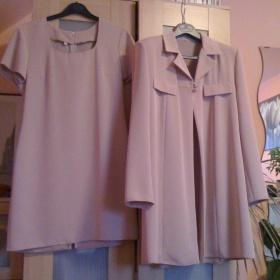 Společenský komplet lehce starorůžový, šaty + sako - foto č. 1