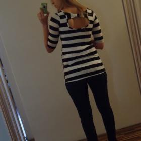Černobílé proužkaté tričko Orsay - foto č. 1