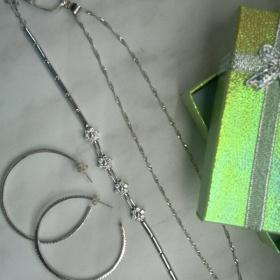Stříbrný řetízek, naušnice a náramek - foto č. 1