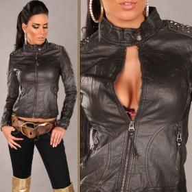 černou koženkovou bundu, svetřík na knoflíčky, trička výměnou - foto č. 1