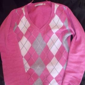 Růžový kostkovaný svetřík C&A - foto č. 1
