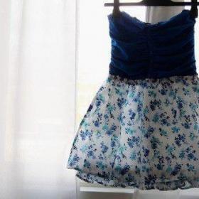 Modré šaty s knoflíčkama - foto č. 1
