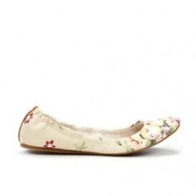 Bežové balerinky Zara s kvetinkami - foto č. 1