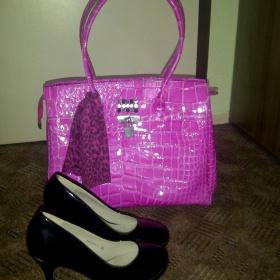 Lesklá růžová kabelka La Farfalla - foto č. 1