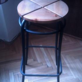 Barová stolička Ikea dřevo/kov - foto č. 1