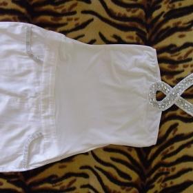 Bílé mini šaty s kameny - foto č. 1