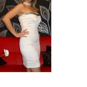 Šaty saténové bílé s kameny vel. 36 - foto č. 1
