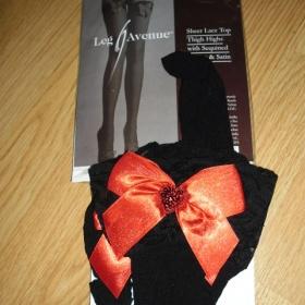 Černé samodržící punčochy Leg Avenue - foto č. 1