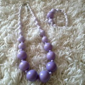 Fialová sada náramek+náhrdelník - foto č. 1