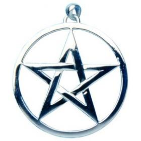 Velký přívěšek pentagram z pravého stříbra, nerezu, nebo chirurgické oceli - foto č. 1
