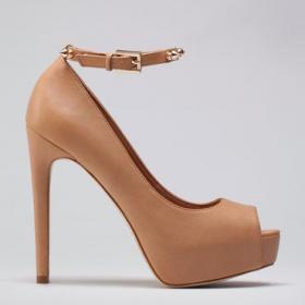 Nude boty na podpatku Bershka - foto č. 1