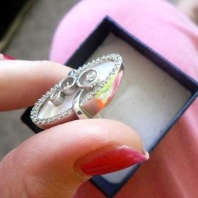 St��brn� prsten s perlet� nezn�m� sna�ky - foto �. 1