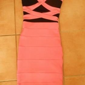 Bodycon růžovo - černé šaty Tally Weijl - foto č. 1