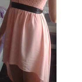 Růžové asymetrické šaty s krajkou Club L Asos - foto č. 1